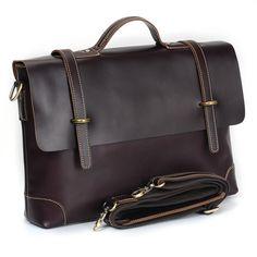 """Handmade Leather Briefcase / Messenger / 14"""" Laptop 15"""" MacBook Pro Bag for Gentlemen - TREASURE"""