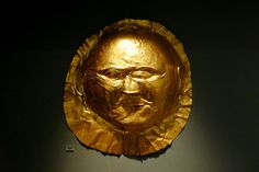 Gold Death Mask from Circle A, Mycenaean, Late Bronze Age (1600 - 1100 BC).