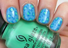 Bright Blue Leopard Nail Art: UV Meant to Be (Allover Color), Treble Maker (Dots), DJ Blue My Mind (Outlines)