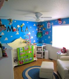 Pixar Themed Nursery, For our first baby, we wanted to touch on everything Pixar. While the room screams Toy Story, we actually referenced all of the movies and some Pixar shorts., This image captures one of our favorite Pixar references in the room; Jack-Jack on the ceiling.  , Nurseries Design