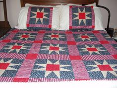 Patriotic Quilt and pillow shams by Olivia's Grammy from the quiltingboard.com