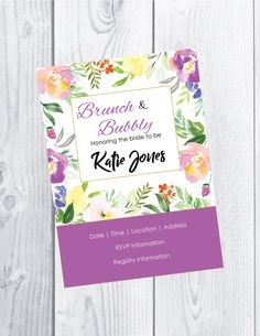 Bridal shower invitation - water color flowers - digital download - customized