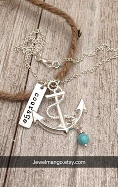 Personalized shiny anchor necklace, keepsake necklace, hand stamping, special day, anniversary, wedding date, engagement, nautical by JewelMango on Etsy