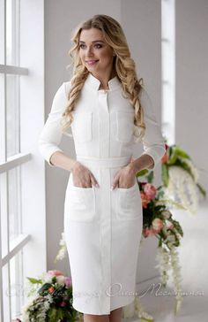 "Stylish white dress ""The white Queen"" milky colour with the relief pockets and stitching. Midi dress Stylish white dress ""The white Queen"" milky colour with [. White Nurse Dress, White Dress, Elegant Dresses, Casual Dresses, Fashion Dresses, Nursing Dress, Business Attire, Designer Dresses, Clothes For Women"