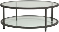 Round Glass Table Shelves Pewter Coffee Clear Tempered Modern Living Room New #Offex #Modern #Round #Glass #Table #Furniture
