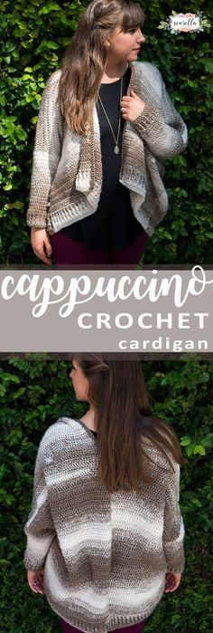 Crochet this simple Cappuccino Cardigan from two rectangles with beautiful Scarfie yarn! Free pattern on my blog