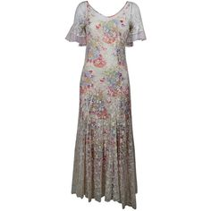 Preowned 1930s Gorgeous Garden Gown With Floral Net Overlay ($636) ❤ liked on Polyvore featuring dresses, gowns, 1930s, vintage, evening dresses, grey, slip dresses, floral evening dresses, ruffle sleeve dress and vintage gowns