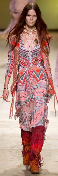 Native American Inspired Dress & Firey Knee High Fringed Moccasins
