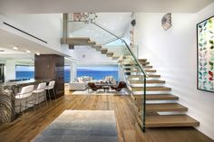 This amazing floating staircase design was created for a project on Hawaii. Like it - pin it! Cantilever Stairs, Glass Stairs, Floating Staircase, Staircase Design, Modern Architecture, Hawaii, Amazing, Home Decor, Floating Stairs