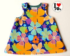 Baby girl spring dress baby girl 70's styled by Melimebabybeeshop, $42.00
