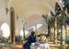 The Athenaeum - Breakfast in the Loggia (John Singer Sargent - ) 1910