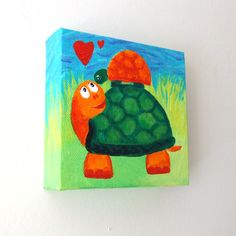 Cute Nursery Art, MAMA LOVE TURTLES, 5x5 Acrylic painting, Whimsical art for small walls