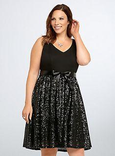 Sequin Ponte Party Dress, BLACK