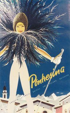 SWITZERLAND - Pontresina #Winter sports #Vintage #Travel