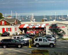 Abbott's Lobster in the Rough in Noank, Connecticut, is one of the best seasonal waterfront lobster shacks in New England. Read about Abbott's at http://www.visitingnewengland.com/scenesofnewengland101.html.