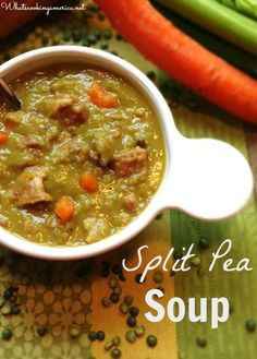 Split Pea Soup Recipe - Stovetop & Slow Cooker Instructions | http://whatscookingamerica.net | #split #pea #soup #slowcooker