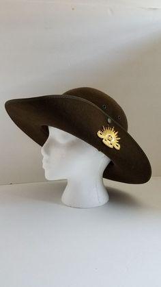 63aec946e42 Vintage Akubra Australian Military Forces Felt Hat Size 7  Akubra Army  Uniform