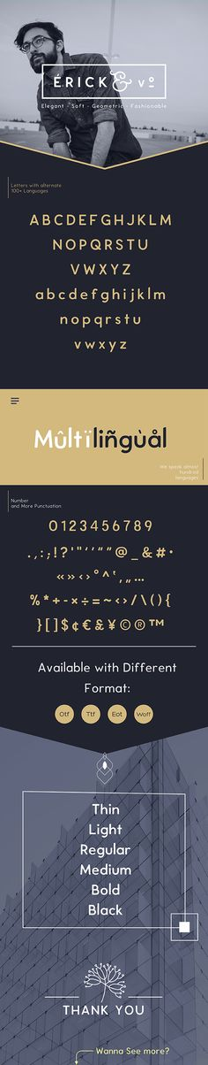 Erick Elegant, Smooth, Fashionable Sans Serif Font #vintage #royal Download : https://graphicriver.net/item/erick-sans-font/20946544?ref=pxcr