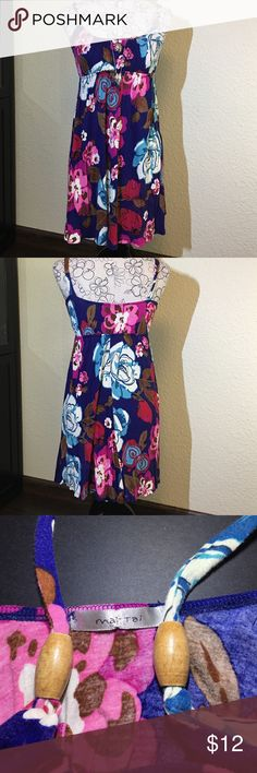 Multi color Floral Sundress Color: Multi Floral Size:S - 100%Cotton - small 1mm hole on front bodice part - 2 ornamental beads on straps Mai Tai Dresses