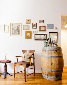 A vintage barrel reborn as a bar.