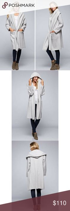 Oversized Two Pocket Cardigan Cozy and effortless open cardigan with hood and hip pockets.  60% Acrylic 30% Spandex 10% Polyester  Color-Light Grey  Size-One Size Love Stitch Jackets & Coats Trench Coats