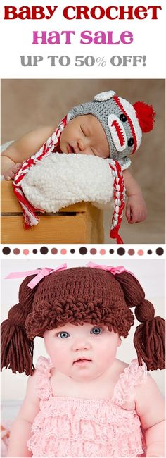 Baby Crochet Hat Sale: up to 50% off! - the CUTEST hats for Babies... these would make fun gifts, too!