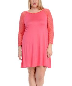 d4328e80a2b5 Celeste Coral Sheer-Sleeve Swing Dress - Plus