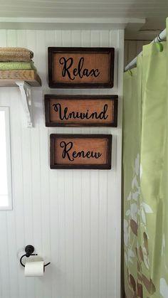 Relax Unwind Renew Bathroom Sign Set Shelf Sitter Or Wall Rustic