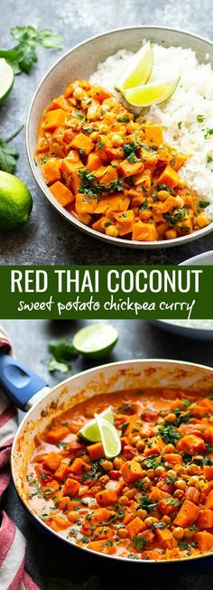 Red Thai sweet potato chickpea curry in a creamy spicy coconut sauce is loaded with hearty vegetables and an incredible vegetarian take on curry! Coconut Sauce, Thai Coconut, Best Comfort Food, Comfort Foods, Sweet Potato Chickpea Curry, Cubed Sweet Potatoes, Red Thai, Blogging Ideas, Delicious Dinner Recipes