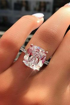 Wedding Jewelry Certified Big Cushion Diamond Solitaire Engagement Ring in White Gold Budget Friendly Engagement Rings, Engagement Rings Under 1000, Cheap Engagement Rings, Solitaire Engagement, Pink Diamond Engagement Ring, Expensive Engagement Rings, Wedding Engagement, Ring Set, Ring Verlobung