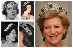 The Greek Emerald Parure Tiara | A Tiara a Day-originally owned by Grand Duchess Olga Constantinovna of Russia when she married King George !, they are still owned by the Greek Royal Family; hotos (clockwise from top left): Queen Elisabeth of Greece; Queen Anne-Marie of Greece; Queen Anne-Marie of Greece; Queen Anne-Marie of Greece; Queen Friederike of Greece