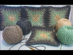 Tunisian crochet, beginning. Learn to knit Tunisian crochet. Granny Pattern, Crochet Motif Patterns, Crochet Circles, Crochet Squares, Fast Crochet, Tunisian Crochet, Crochet Cushions, Crochet Videos, Crochet Accessories