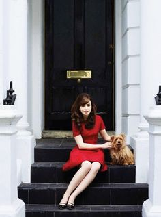 Lilly Collins and pup