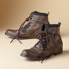 Classic, rugged construction gets a modern color update and styling in these hand-constructed, waxed leather boots with snug, wool lining. Leather and rubber sole. Euro whole sizes 40 to 40 (US 41 (US 42 (US 43 (US 44 (US 45 (US 46 (US Men's Shoes, Shoe Boots, Unique Clothes For Women, Rugged Style, Daily Fashion, Craftsman, Leather Boots, Combat Boots, Unique Jewelry
