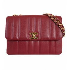 Chanel Deep Red Caviar Skin Line Quilt Classic Flap Bag