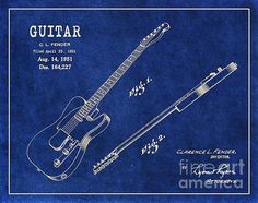 1951 Fender Telecaster Guitar Patent Art in White on Dark Blue Background. Patent Awarded to Clarence L. Fender.