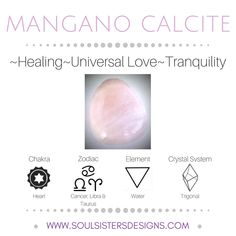 Metaphysical Healing Properties of Mangano Calcite, including associated Chakra, Zodiac and Element, along with Crystal System/Lattice to assist you in setting up a Crystal Grid. Go to https://www.soulsistersdesigns.com/mangano-calcite to learn more! #ChakraHealing