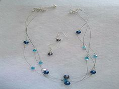 NEW - Denim Crystal Jewelry Set $36 http://www.AmysHandmadeJewelry.com/denim