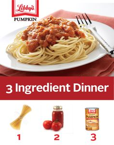Pasta math: Pure Pumpkin + your favorite sauce + noodles = a simple and delicious dinner. 3 Ingredient Dinners, Libby's Pumpkin, Savory Pumpkin Recipes, How To Eat Paleo, Cranberries, 3 Ingredients, 100 Pure, Soups And Stews, Pasta Dishes