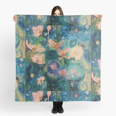 'Fantasy Flowers' Scarf by Adele Buys Framed Prints, Canvas Prints, Art Prints, Arrow Words, Iphone Wallet, Iphone Cases, Scarf Design, Sell Your Art, Art Boards