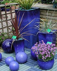 Blue Garden Pots Blue pot theme helps keep the look neat and not clutterd cobalt blue in the garden repeating color for impact workwithnaturefo