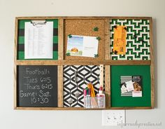 Knock off memo board I made which helps my boy stay organized.  This is great to use up those extra scraps. #hgtvhomemagic