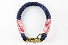 Halsband Tau maritim mit Messing von Casa Canina auf DaWanda.com