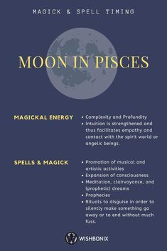 Moon in Pisces - Favored rituals, spells and magic best performed on Pisces Days in the Waxing and Waning Moon Phase. Moon Sign Astrology, Pisces Moon Sign, My Moon Sign, Astrology Planets, Moon Signs, Zodiac Signs Astrology, Astrology Numerology, Astrology Chart, Horoscope Capricorn