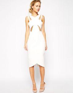 """Robe fourreau blanche à découpes type """"Cinquième Elément"""" Asos - ClicknDress"""