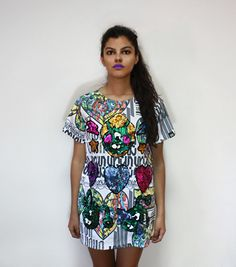UNLOVERS t-shirt, color, oversize, sequins, fashion, makeup, undecided, unlovers, fun, glitter, design, shiny, club, aliens, spontaneous, irreverent, gold, pink, blue, green, white, purple, unlovers , handmade, pattern