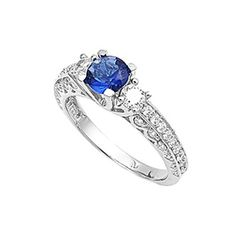 Sterling Silver Ring with Round Cut Dark Blue  Clear CZ Side Stones  size 9 ** Be sure to check out this awesome product.(This is an Amazon affiliate link and I receive a commission for the sales)
