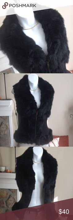 Black fur sweater vest Rabbit fur vest with zip front closure, lined in good condition. Super cute!!! Harry Angel Jackets & Coats Vests