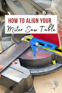 Learn how to align your miter saw table to help ensure accurate cuts with your miter saw. Beginner tips for using a miter saw you need to know. Scrap Wood Projects, Woodworking Projects That Sell, Woodworking Plans, Miter Saw Table, Wood Working For Beginners, Easy Home Decor, Make It Simple, Easy Diy, Learning