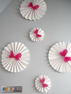 Folded paper butterfly wall fans